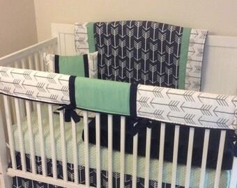 Baby Boy Crib Bedding Navy Mint Gray Arrows