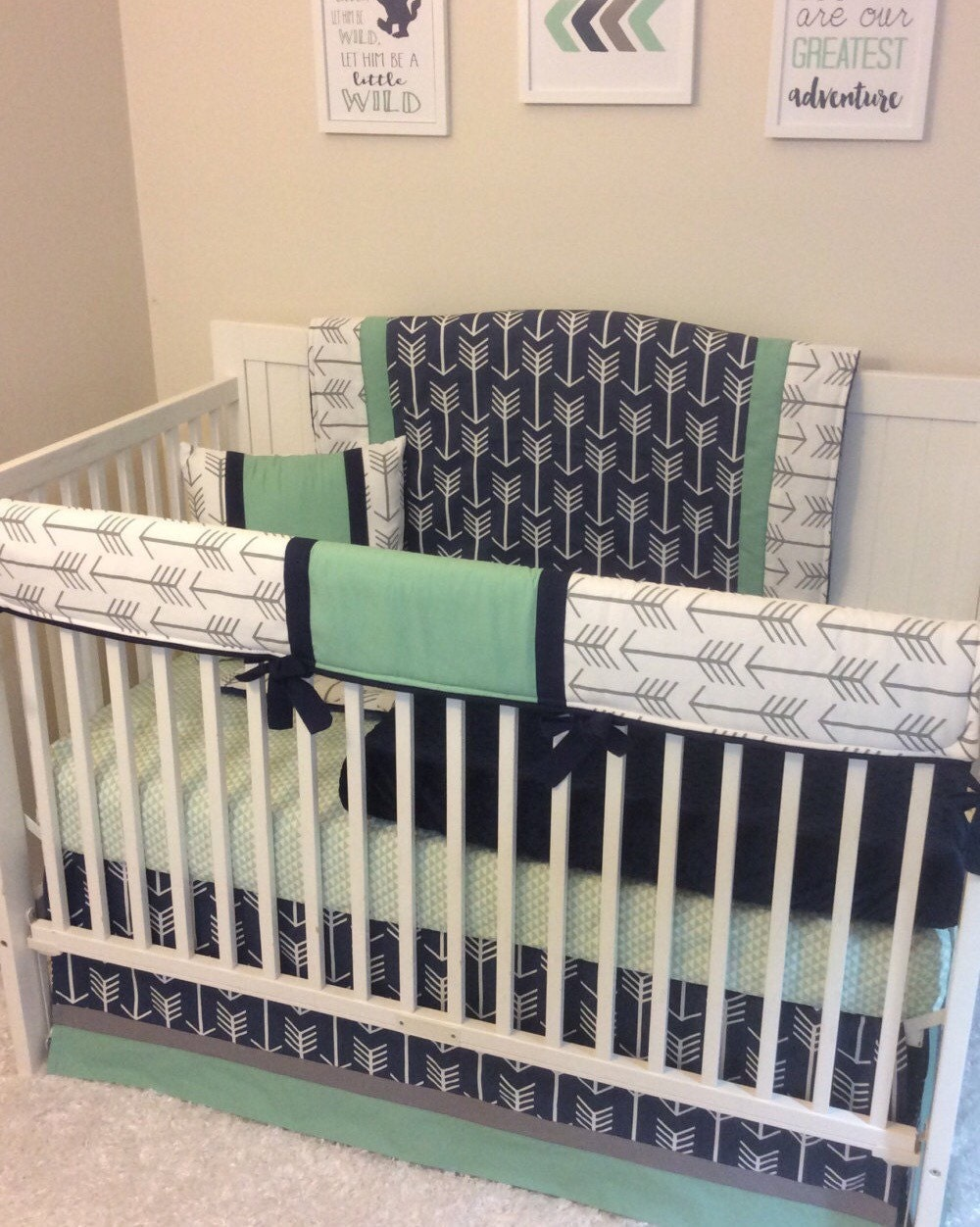 Baby Boy Crib Bedding Navy Mint Gray Arrows Ready to Ship