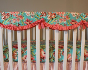 Crib Teething Guard - Crib rail cover - Bliss Bouquet Coral and Turquoise ruffled rail cover - Custom