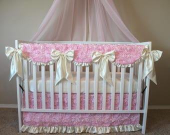 Rosette Swirl in Soft Pink and Ivory - Custom Crib Bedding Set - Pink Ruffled Baby Girl Bedding