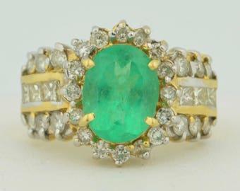 14K Retro 3 Carat Emerald & Diamond Ring