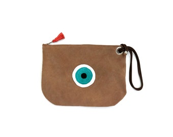 Evil Eye Small Suede Bag in Sandy Beige. Leather Bag. Large Suede Wallet. Womens Gift. Gift for Her. Bohemian Bag. -Atter-