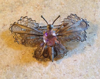 Silver and Amethyst Butterfly Brooch