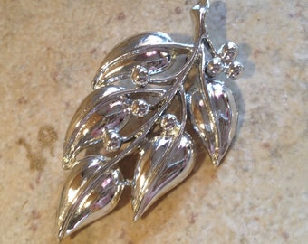 NEW Silver Leaf Brooch by Sarah Coventry