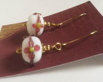 Lampwork Glass earrings, tiny flowers
