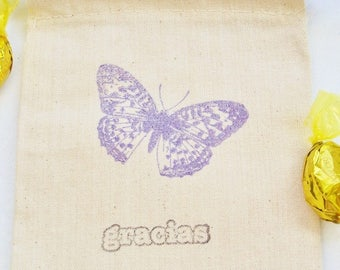 10 Butterfly Mexican Wedding Favor Gift Bag, Mariposa, 4X6 Muslin Bag, Bridal Shower, Party Favor, Birthday Party, Gracias Stamped Bag
