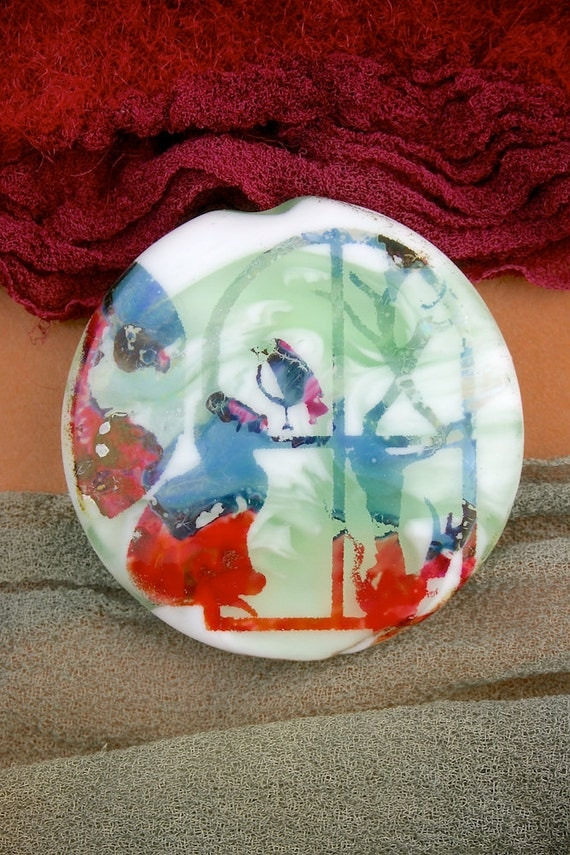 "SRA Lampwork Beads ""Kitten at the Window"" Handmade Sandblasted Glass ~ Iridescent Lustre Medallion Bead"