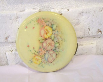 Vintage Fifth Avenue Floral Powder Compact with Mirror Puff Sifter