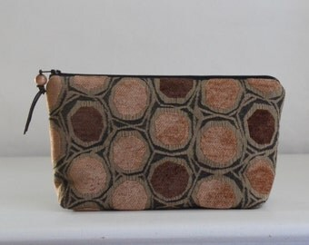 Brown Scattered Dots Wide Padded Zipper Pouch Gadget Case Cosmetics Bag - READY TO SHIP