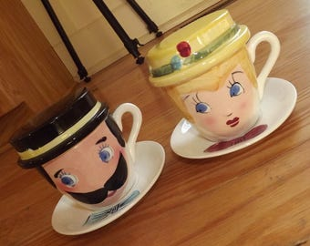 1950s Mom and Pop covered mugs - charity for cats and kittens