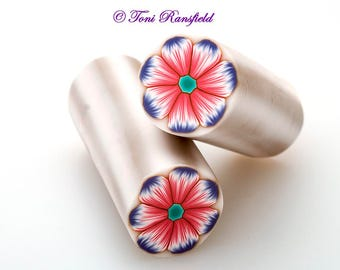 Pink and Lavender Flower Polymer Clay Cane, Raw polymer Clay Cane, Millefiori Polymer Clay