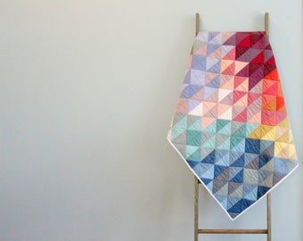 Custom Made-to-order Baby or Bed Quilt - Aztec Triangles