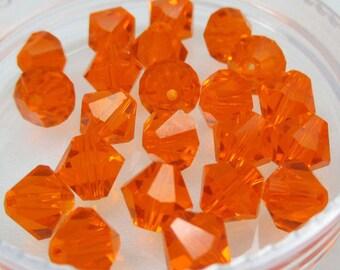 SUN Orange 6mm Bicone Swarovski Crystals, Orange Crystals, 24 pcs, Style 5301/5328
