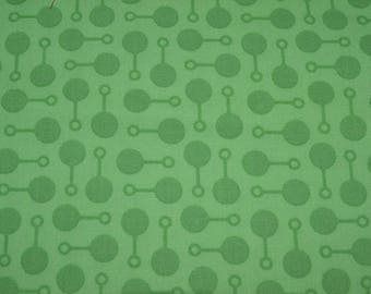 Lime Green Fabric with Baby Rattles (by the yard)  100% Organic Cotton by Robert Kaufman