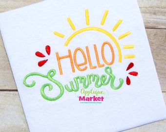 Machine Embroidery Design Embroidery Hello Summer INSTANT DOWNLOAD
