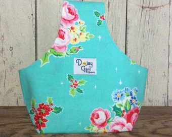 Knitting on the Go Wristlet, knitting bag, yarn holder Christmas aqua floral