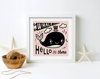 Whale Hello There art print, child's room art. nursery art, children's art, whale art print, framed giclee print, gift for child