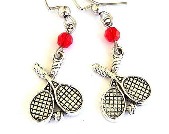 Tennis racquet earrings, tennis player earrings, antiqued silver with Swarovski crystal