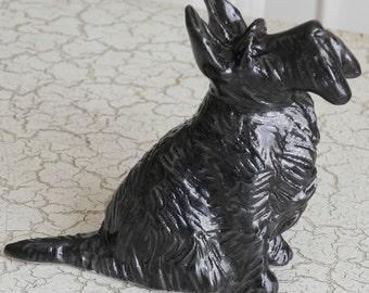 black stoneware scottie dog, scotty, scottish terrier statue figurine sculpture