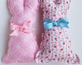 Easter Bunnies/for Baskets/Gifts/Calico/Fabric/Stuffed/Set of Two