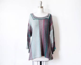 70s boho sweater, vintage 1970s bell sleeve sweater, striped hippie knit top, large l