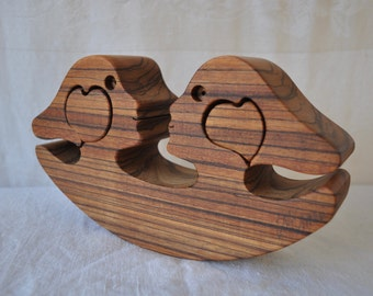 Rocking Wooden Puzzle Sculpture of Lovers/Vintage 1980s/Wood Carving With Hearts/New Age Concept Gift/NOS Wedding Anniversary Gift