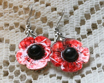 Hand Painted Vintage Carved Mother of Pearl Flower Earrings and Vintage Black Button centers  925 ear wires