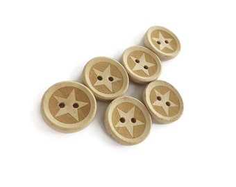 Unfinished Wooden button - Star Pattern Wood Sewing Buttons Natural Color 20mm - set of 6  (BB117)