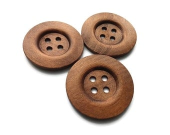 "Extra large wooden button - 3 rustic buttons 50mm (2"")  (BB151CC)"
