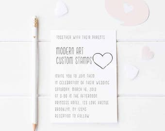 Wedding Invitation Stamp   Wedding Stamp   Custom Wedding Stamp   Custom Stamp   Personalized Stamp   Modern Wedding Invitation    W6