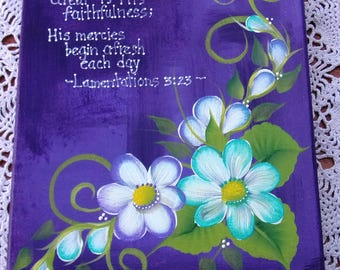 """Hand Painted Canvas-Scripture-Inspirational-Acrylic Original-Purple-Teal-Turquoise-Daisy-Bible-8""""x 10"""" -Stretched"""