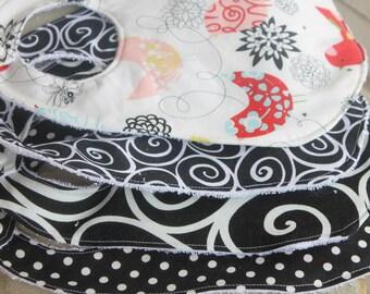 Baby Bibs Boy/Girl/Unisex Miller/Henry Birds/Swirl/Polka Dot Print Black Red Baby Girl Bibs Personalized Baby Bibs Monogram Bibs/Burp Cloth
