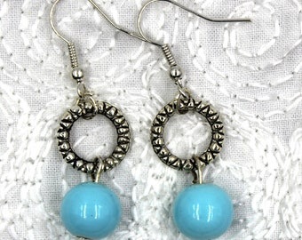 Blue Bauble Earrings, dangle earrings, blue earrings, blue glass earrings, jewelry