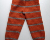 Large Diaper Cover Wool Longies - Orange and Grey Striped Recycled Wool Longies