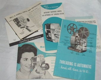Bell & Howell Assorted Pamphlet Lot- Cartridge Camera- Threading Projector-Pistol Grip Camera