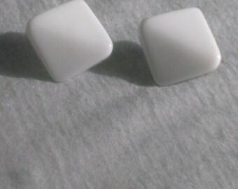 White Plastic clip on Earrings
