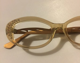 Pink and Gold Eyeglasses, Rose Gold Glasses Vintage New Old Stock Champagne Eye Glasses with Rhinestone Temples, Deadstock 1960s Glasses