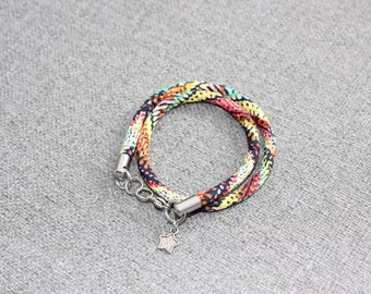 bijoux mode, bracelet, bracelet tissu, étoile, star, coloré, funky, bracelet double, wrap bracelet, bracelet inox, hippie, bohème, casual