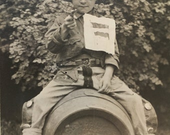 RPPC Real Photo POSTCARD of Boy with Flag and Cap Gun -- Spanish American War Costume