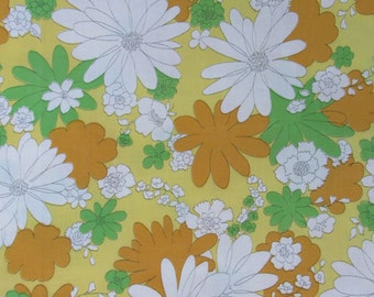 Vintage 70s Flower Power Yellow Gold Lime Green Daisy Full Flat Cotton Muslin Sheet Cannon Monticello