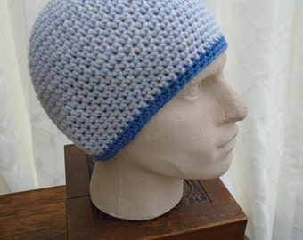 BOY BLUE for men Large high end Rowan wool beanie tuque cap hat by irish granny merino