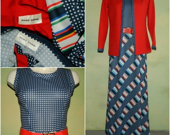 M 60s 70s Toni Todd Maxi Dress & Jacket Set Pieced Knit Dress Suit Navy Blue and Red with Orange Green Pink and White Stripe Mad Men