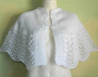 50s 60s White Crochet Wrap Cape Shrug Capelet Shawl Loop Button Frog Closures Mad Men Shoulder Cover Up