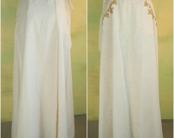 S M Perfect Fitting Linen Wrap Skirt Ivory or Off White Soutache Twine Design Country Set