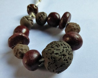 Artisan made ceramic beads - set of 12 - Coffee and chocolate