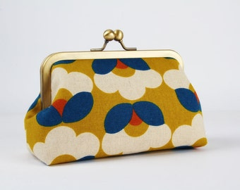 Metal frame clutch bag - Retro flowers on yellow - Bag purse / Japanese fabric / Blue orange white / Vintage inspiration