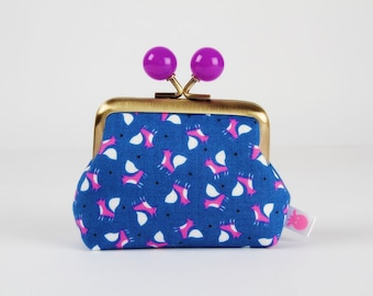 Metal frame coin purse with color bobbles - Chibi foxes on blue - Color mum / Japanese fabric / Mini fox / purple pink white black