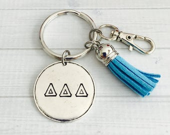 Delta Delta Delta Key Chain - Sorority Key Chain - Tassel Key Chain - Personalized Sorority Key Chain - Sorority Gift - Big Little Gift