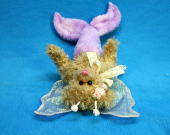 Mermaid/Fairy Bear from recycled plush with ribbon roses