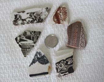 AWESOME BEACHGLASS POTTERY Shards Wonderful design shapes and size 350
